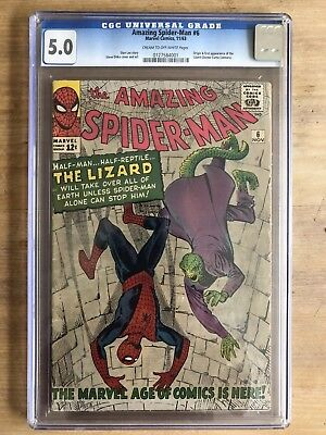 Amazing Spider-Man #6 CGC 5.0 C/OW PAGES 1st Lizard KEY S.A. DITKO COVER