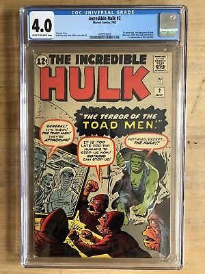 Incredible Hulk #2 CGC 4.0 C/OW Pages Key S.A. 7/62 1st Green Skinned Hulk!!