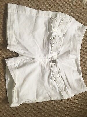H&M White Maternity Denim Shorts Size 10
