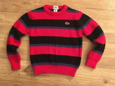 Vintage Izod LACOSTE Crewneck Sweater Acrylic Blue Red Stripe Youth Medium (6-7)