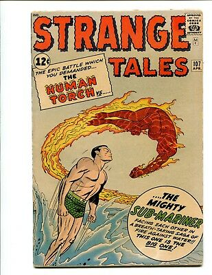 Strange Tales 107 5.5 FN- OW pages Human Torch Sub-Mariner $125 CGC it! 1963