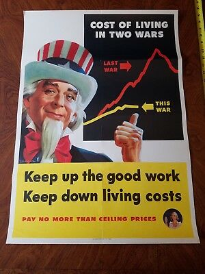 Original Vintage WWII Poster COST OF LIVING IN TWO WARS Keep up the good work
