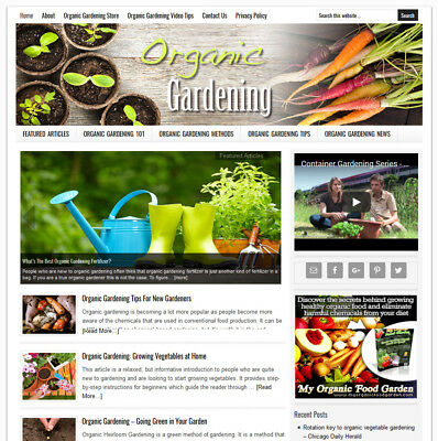 * ORGANIC GARDENING * blog website business for sale w/ AUTO-UPDATING CONTENT!