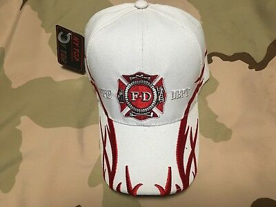 Us Fire Fighter White Hat With Flames
