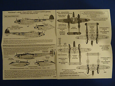 Lockheed P-38 Lightning F-5A/B/G French GR II/33  Third Group  Decals 1:48