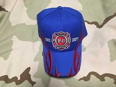 Us Fire Fighter Blue Hat With Flames