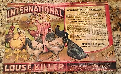 Antique  Dr Hess Louse Killer Lice Bug Livestock Farm Advertising Poster Card