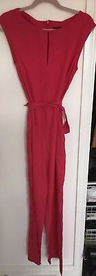 Zara Fuschia Sleeveless Jumpsuit Size Medium