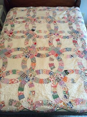 "VINTAGE Handmade Wedding Ring Quilt for Twin or Full Bed 84"" x 86"", Craft Fabric"