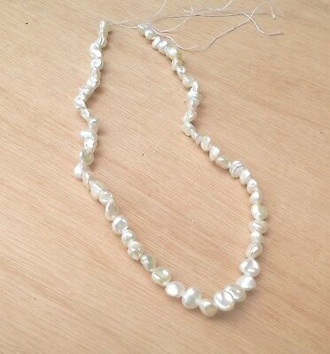"""White Freshwater Keshi Nugget Pearls, 7mm - 9mm Approx, Strand 15"""""""