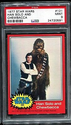 1977 Topps Star Wars Red Series 2 #121 HAN SOLO AND CHEWBACCA PSA 9 MINT a