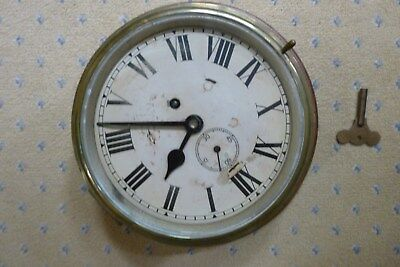 """Antique Solid Brass Large 8.75"""" Dial Ships Bulkhead Clock"""