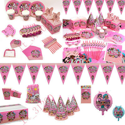 LOL Surprise Birthday Party Kids Girls Supplies Tableware Decor Plates Banners