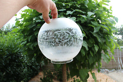 Antique French Glass etched Globe shade for oil petrol lamp replacement part