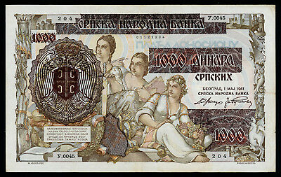 Serbia 1000 dinara on 500 dinara 1941 VF, P-24, a beautiful large note