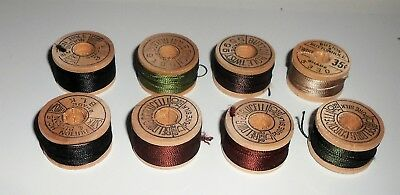 Lot of 8 Vintage Wooden Belding Corticelli Buttonhole Silk Thread Size D