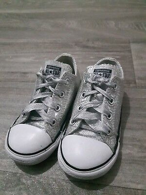 childrens silver glitter converse size 9 infant used in great condition