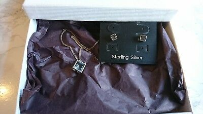 Sterling Silver Square Pendant Necklace AND Stud Earrings SET