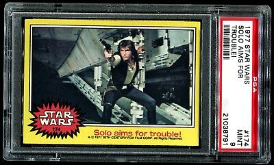 1977 Topps Star Wars Yellow Series #174 SOLO AIMS FOR TROUBLE! PSA 9 MINT a