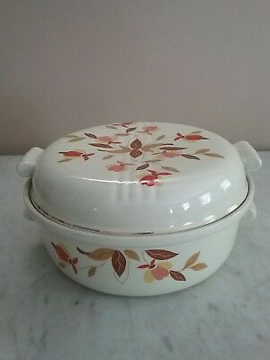 Vintage Jewel Tea Autumn Leaf Lidded Casserole Dish w/Double handles