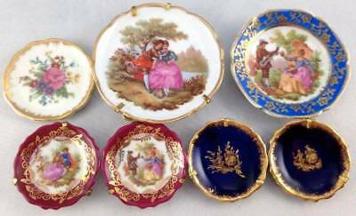 7x Miniature Limoges Plates French Porcelain Cobalt Blue Gold Gilt Courting Lot