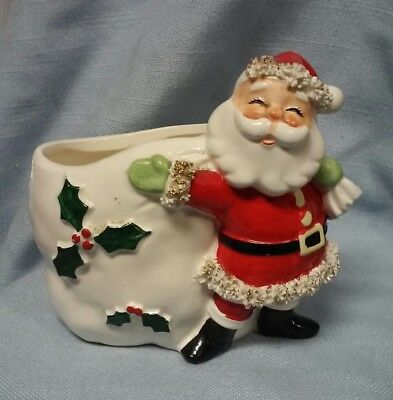 Vintage Ceramic Spaghetti Santa With Gold Accents And Bag With Holly Napco
