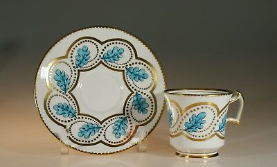 Royal Chelsea Handpainted Turquoise Oak Leaf Tea Cup and Saucer, England c. 1951