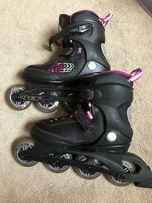 Women's K2 Kinetic 80 Pro Inline Skates UK Size 4 -Breast Cancer Awareness
