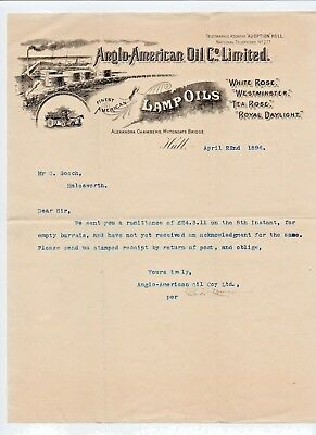 ANGLO-AMERICAN Oil Co - letterhead 1896 - Royal Daylight paraffin Pratts petrol