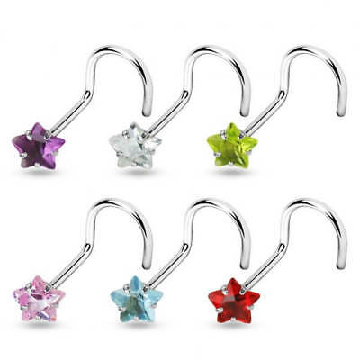 5 PCS Assorted Colors STAR Prong Set CZ Top Surgical Steel Nose Screw Nose Stud