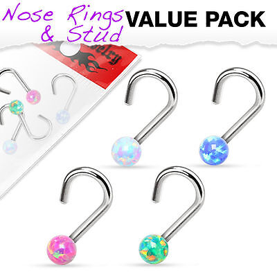 4 PCS 20G 18G Assorted Opal Ball Colors 316L Surgical Steel Nose Screw Nose Stud