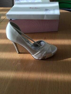 Rainbow Wedding or Special Occasion shoes Ivory Satin Size 38 UK 5 in box