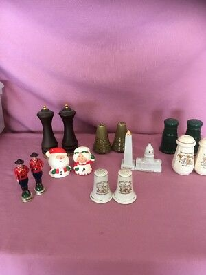 LOT ANTIQUE SALT & PEPPER SHAKERS  VINTAGE PORCELAIN METAL 8 Sets   G