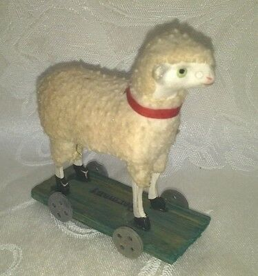 Antique Wooly Putz Sheep On Wheels Cart Germany Exc. Rare $99.99