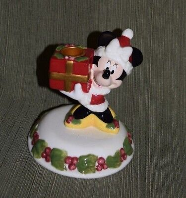 """Disney Christmas Minnie Mouse Mrs. Claus Holding Gift Ceramic Candle Holder 6"""""""