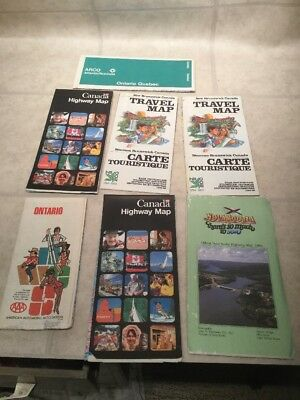 Lot Of 7 Vintage Road Maps Canada Area Ontario New Brunswick Nova Scotia
