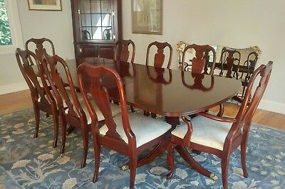 Vintage Fancher Ny Duncan Phyfe Table 8 Queen Anne Chairs Solid Mahogany