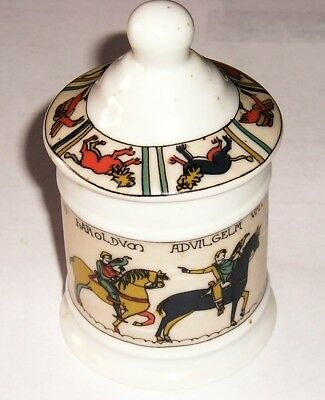 Limoges Porcelain Pot Decorated With Scenes From Bayeux Tapestry