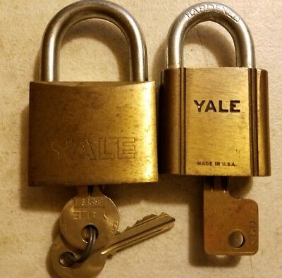 TWO Vintage YALE/Eaton Brass Padlocks Original Keys KD- 1 #774 & 1 Made in Italy