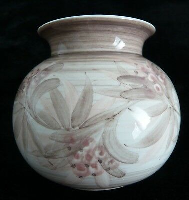 Vintage 80s Jersey Pottery Small Vase - Hand painted berry & leaf design