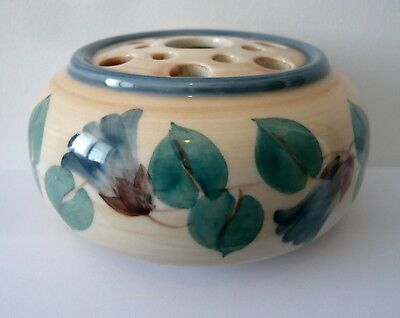 Hand Painted Jersey Pottery CI Posy Vase- blue/green/cream/beige- fully marked