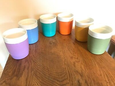 Vintage Set of 6 Sunfrost THERMO-O-WARE Cups Rocks 8 Oz Glasses.previously Owned