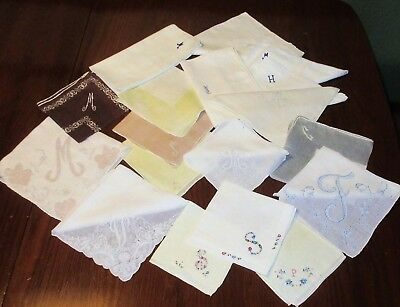 18 Vintage Monogrammed Hankies All Cutters Flawed Letters are M, S, H, A, C, F,