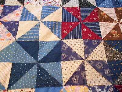 "Vintage Antique Pinwheel Quilt Top Hand Stitched Cotton 61"" X 74""  1930s"