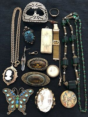 Lot Of Antique Vintage Jewelry As Is Repair Repurpose Brooches Locket Cameo