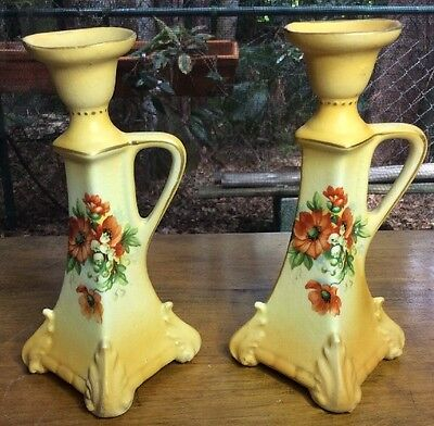 Antique Pair of Handpainted Austrian Faience Candle Holders