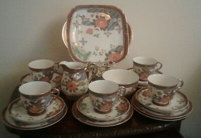 Vintage Antique Oriental Chinese /japanese Hand Painted Tea Set Gilding 19 Piece
