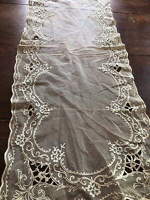 Beautiful Vintage French Net Lace Embroidered Table Runner