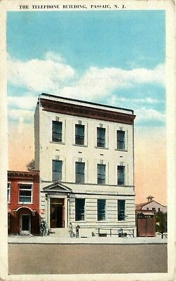 1925 New Jersey Postcard: View Of The Telephone Building, Passaic, Nj