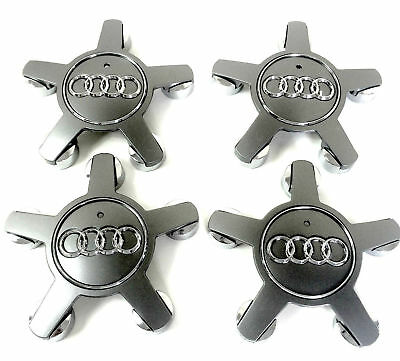 4pcs 135mm Car Wheel Center Caps for Audi A3 A4 A5 A6 A7 A8 Q5 S4 - Grey/Silver